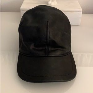 100% leather black hat